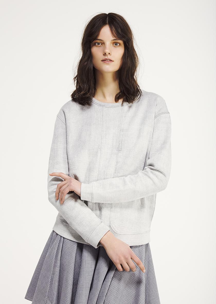 <p><span>Jenna</span> Round neck sweatshirt in marble fleece</p><p><span>Syren</span> flared skirt</p>