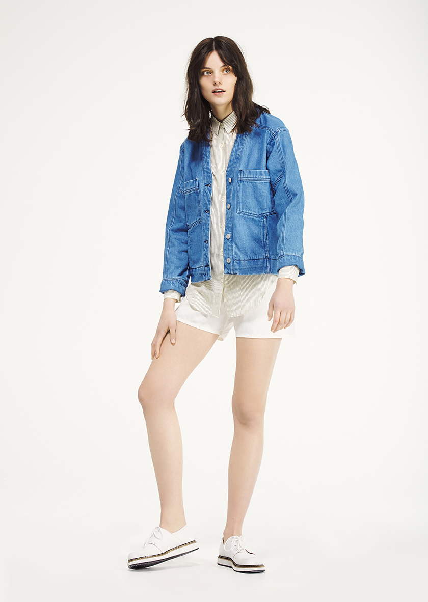 <p><span>Iris</span> bleached and boxy denim jacket</p><p><span>Ava</span> striped seersucker blouse</p><p><span>Parade</span> Laced Derby style sneaker</p>