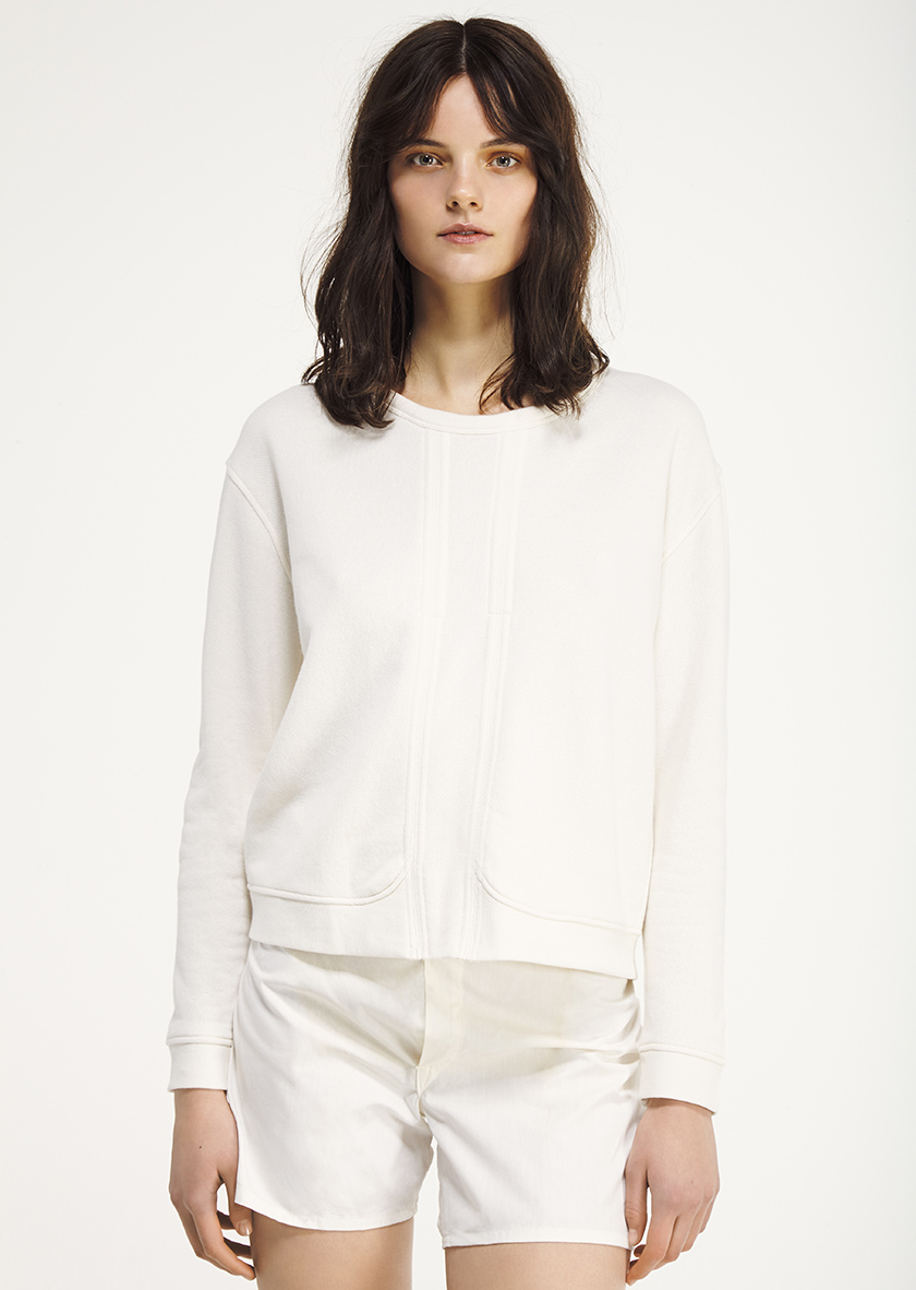 <p><span>Jenna</span> Round neck sweatshirt in white loopback fleece</p>